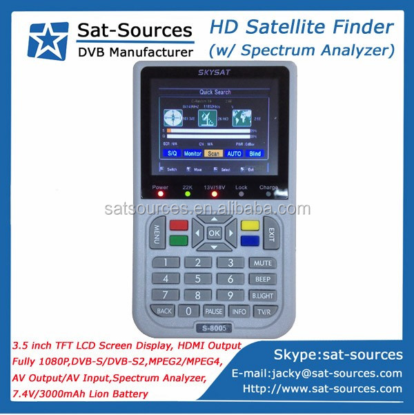 Professional DVB-S2 Satellite Finder Meter with Spectrum Analyzer 3.5 inch LCD Screen SKYSAT S-8005 HD Satellite Finder