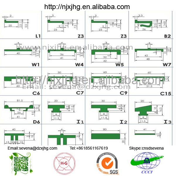 wear resistance UHMWPE plastic roller chain guides for conveyors