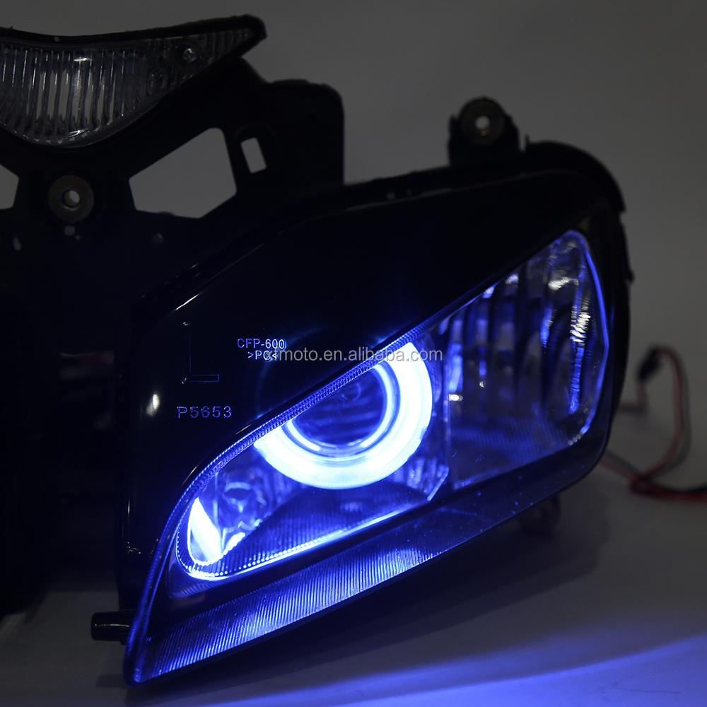 fully assembled headlight hid blue angel eyes for honda
