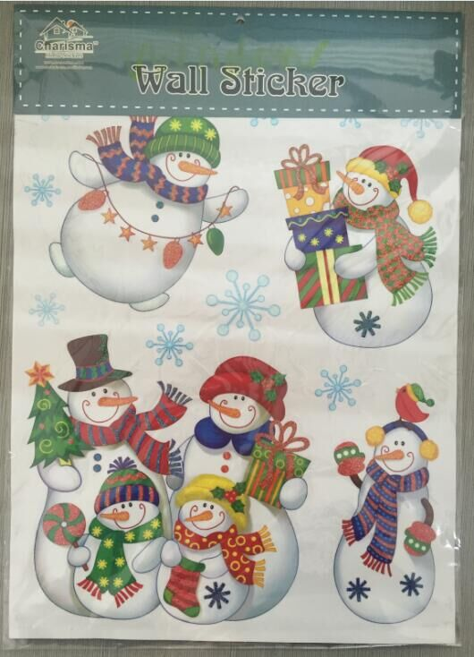 Christmas PVC Removable vinyl stickers static cling window film