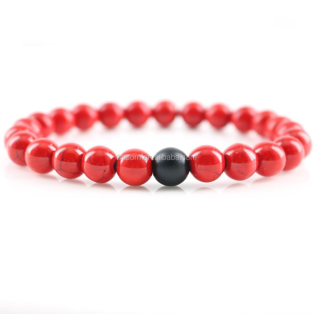 Men's Beaded Bracelet with Red Turquoise Beads Strand Jewelry Wholesale