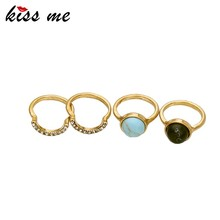Wholesale Crystal Ring Gold Black Stone Jewelry Set Rings Settings