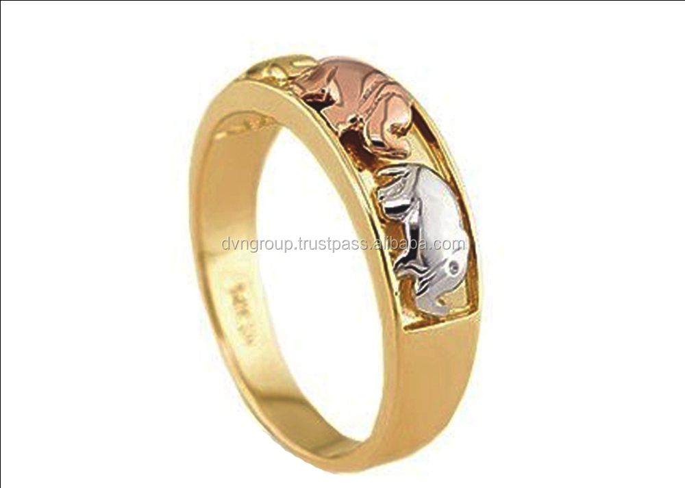 three tone animal design ring , elephant ring , fashion ring