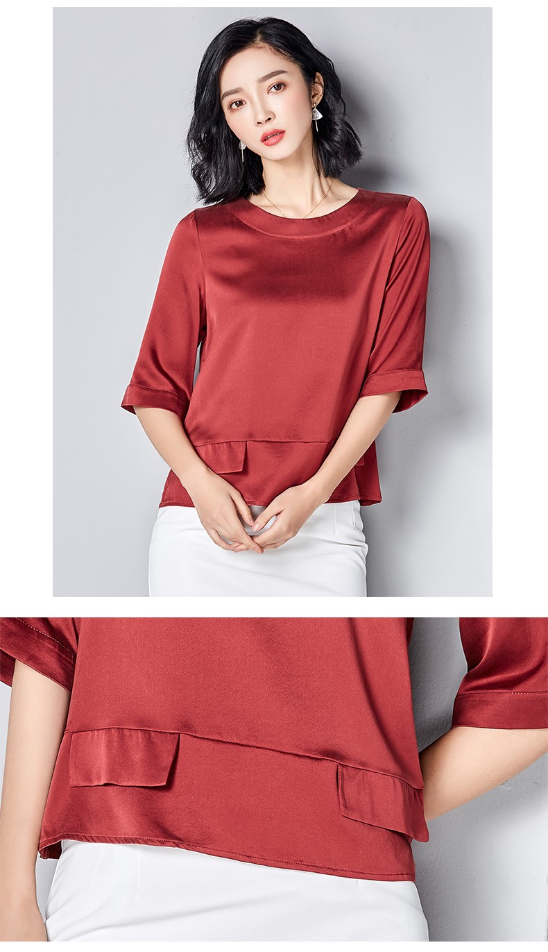 Pure color of high-grade comfortable round neck short sleeve real silk blouse