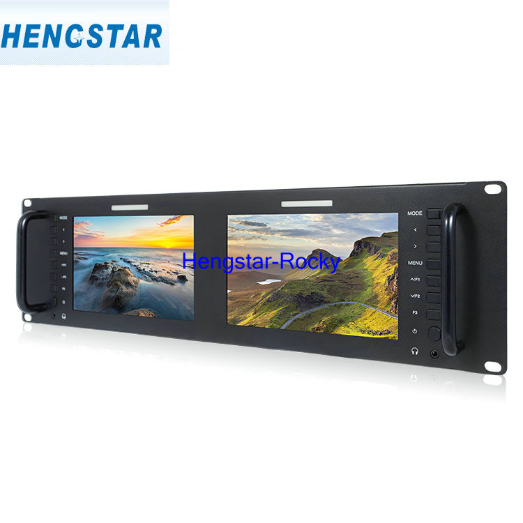 "Dual 7"" 3RU IPS 1280*800 SDI & Audio & Video Rackmount Sunlight Readable Industrial LCD <strong>Monitor</strong> CCTV Surveillance <strong>Monitor</strong>"