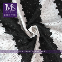 Water-souble black white embroidery lace embroidered guipure lace fabric