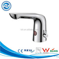 Single hole sink cold and hot water sensor faucet