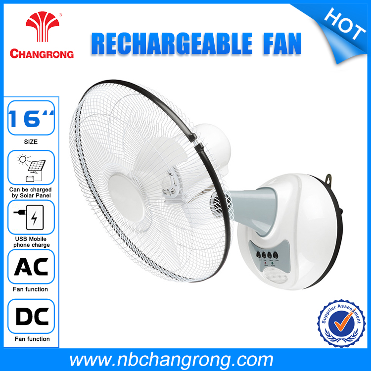 12v motor solar Rechargeable oscillating wall Fan with4 led and remote control