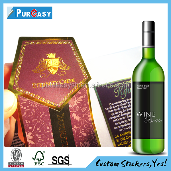 Embossed Hot Stamping Foil Metal Custom Design Beer & Wine Bottle label