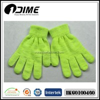 Factory Warm Plain Color Green Acrylic Magic Gloves Wholesale