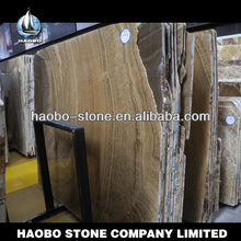 Haobo Made in China Coffee Wooden Polished Slab Laminate Marble