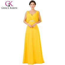Grace Karin Chiffon Elegant Long Evening Dress Yellow Double V Neck Beading Pageant Ceremony Elegant Gown Prom Dresses CL7514