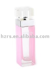 New design square pink glass perfume bottle for woman perfume