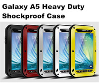 Love mei Brand Aluminum Metal Shockproof Waterproof Case For Samsung Galaxy A5 With Gorilla Tempered Glass Screen Protector