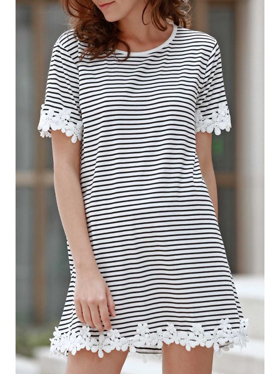 Wholesale Casual Design Trimming Striped Short Sleeve T-Shirt Dress