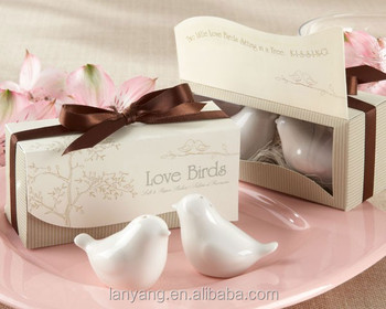 Love Birds in the Window Salt and Pepper Shakers Wedding Door Gift
