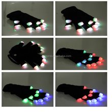 Magic Flash Fingertip LED Gloves Unisex Light Up Glow Stick Gloves Mittens Flashing Luminous Gloves for Party Christmas Gift