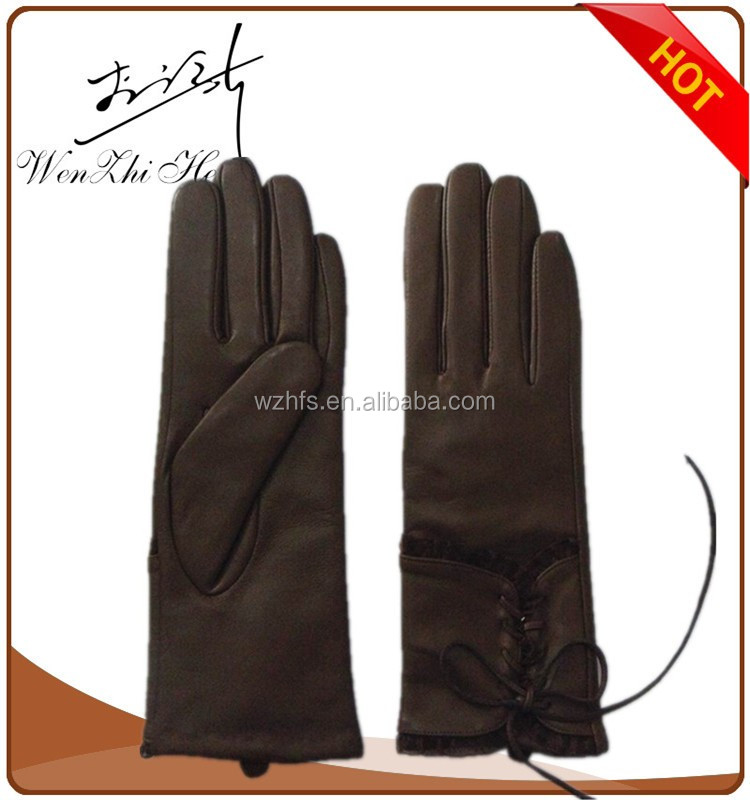 Ladies Black Long Leather Gloves Size 9 With Free Sample