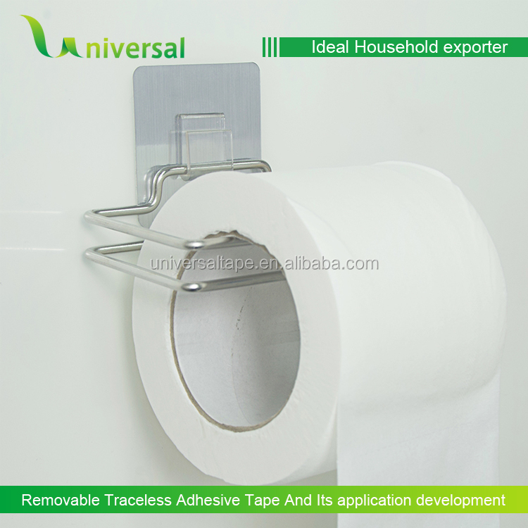 Useful single overdoor hook with reusable plastic adhesive sticker hanger Toilet Roll Holder