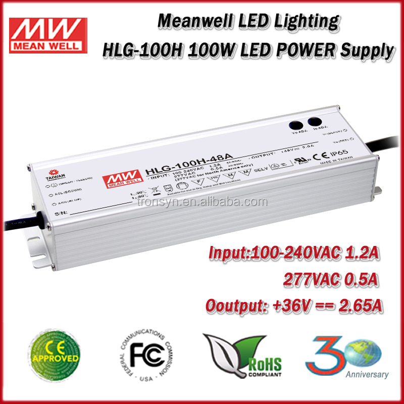 Meanwell Power Supply HLG-100H-36 Constant Voltage Dimmable Waterproof 100W LED Driver 36V