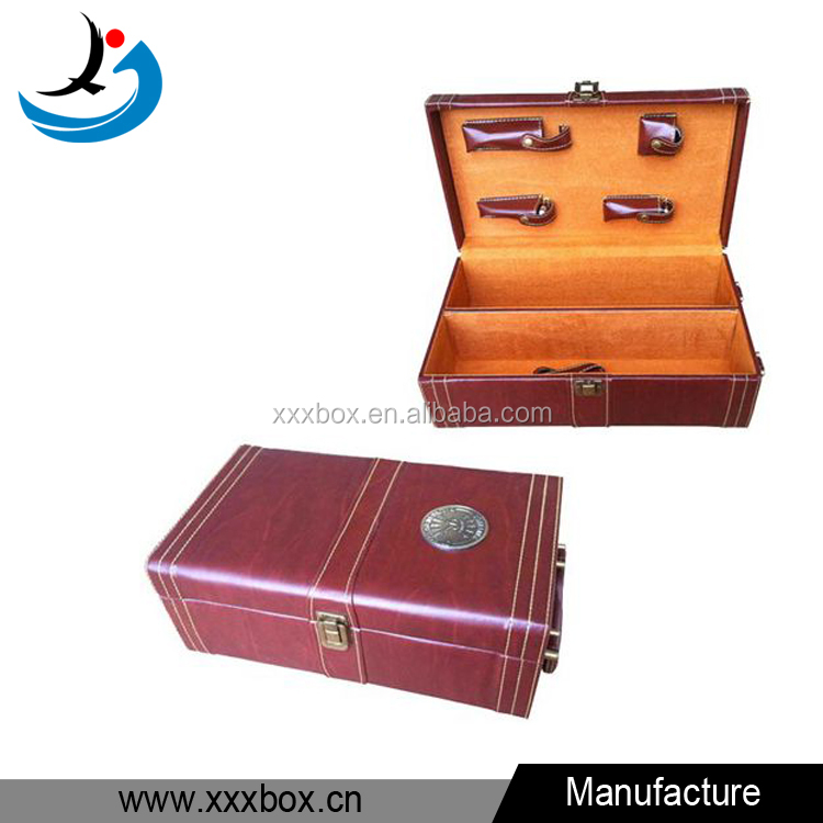 custom PU leather 2 bottle wood wine carriers