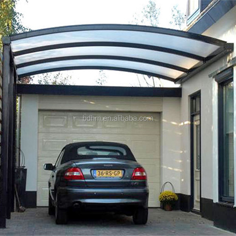 Stylish garage design aluminum Metal carports with polycarbonate fiberglass sheet roof panels Wide application