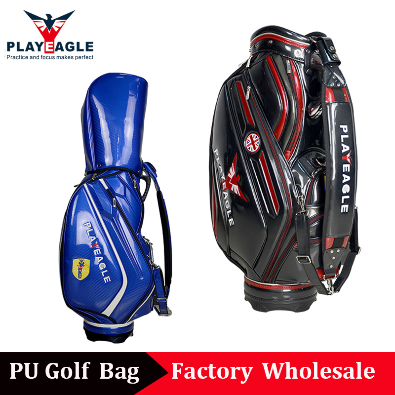 2018 PLAYEAGLE Crystal PU Leather Adult Mens Women Golf Bag Custom Embroidery Logo Golf Club Bag