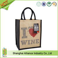 Alliance burlap natural wedding favor wine burlap tote bag