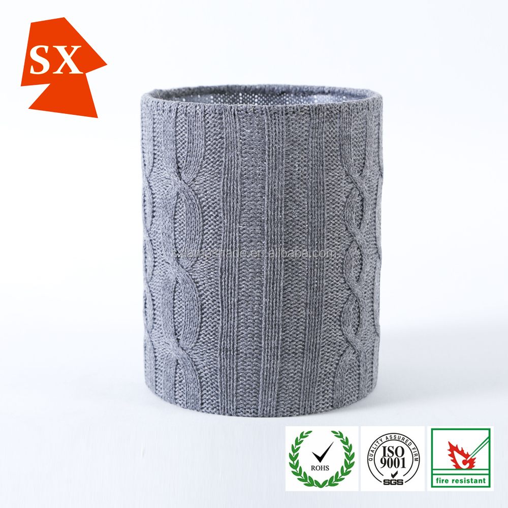 popular nice grey knitting wool PVC cylinder pendant or table lamp shade