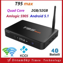 Android 5.1 TV Box T95 MAX Amlogic S905 Quad Core 2GB/32GB Smart 4K TV Player Support Wifi BT4.0 H.265