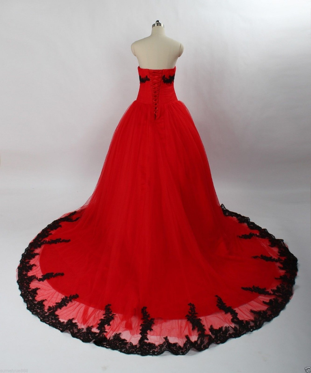 Fa74 Vintage Ball Gown Princess Black And Red Gothic Wedding Dresses ...