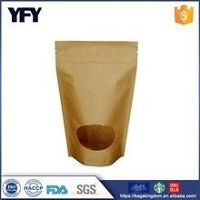 Wholesale stand up pouch food packaging snack bag with oval window
