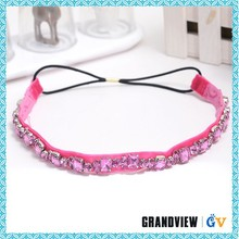 Women fashion crystal hair accessory ,latest designs flower hairband,elastic hair band