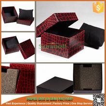 Leather paper covered red watch display box luxury watch box
