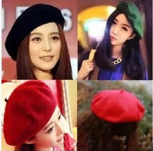 Women Artist Beret Cap,French Style Autumn&Winter Vintage Solid Colors Soft Felt Wool Beanie Hat, Ladies Fashion Classic Berets