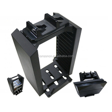 Wholesale Multifunctional Vertical Stand Game Disk Storage Tower Holder with Dual Charger Station for PS4 Console