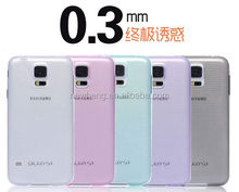 super soft colorful TPU transprent 0.3mm ultra thin case for samsung s5 case portable install and remove