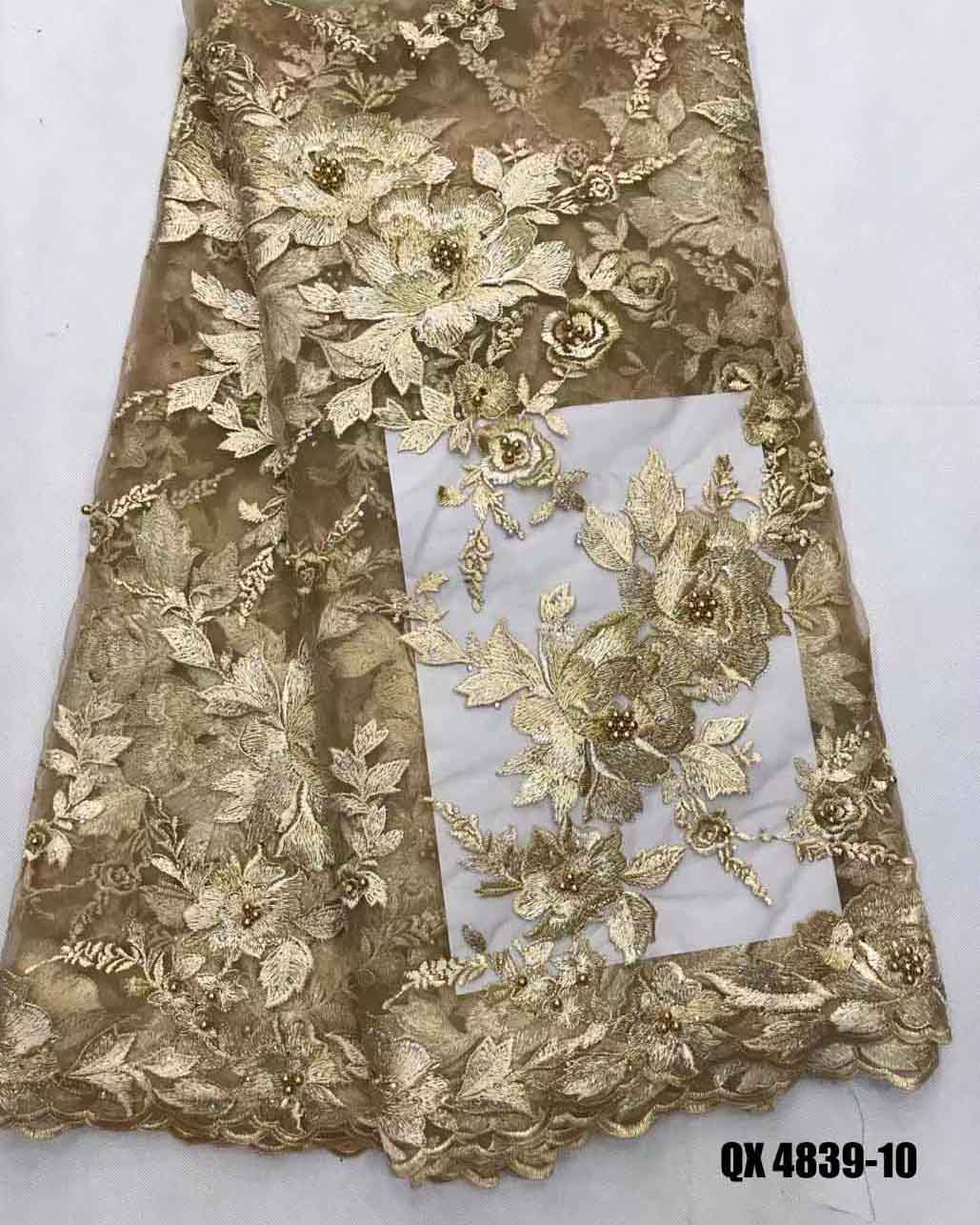 Gold beaded french lace fabric african guipure with cheap price