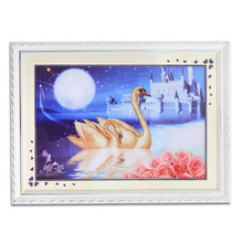 Classic Swan Lake painting hand embroidery folk craft cross stitch with wood frame