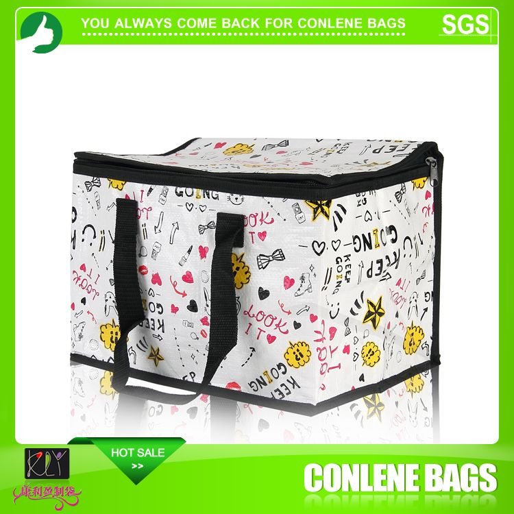 Hot sale white printing custom logo picnic packing recycled insulated cooler bag
