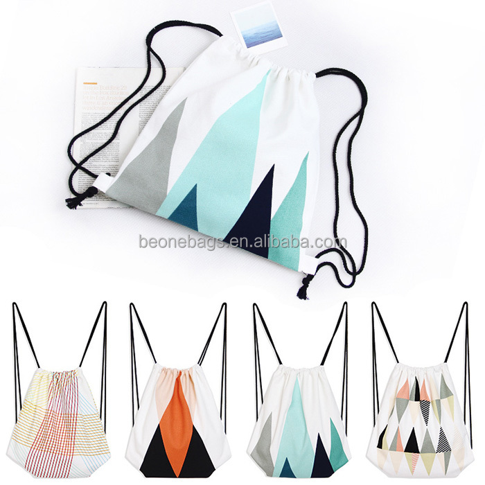 Custom cotton shoe bag draw string back pack draw string sports bag