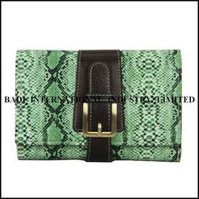 latest hot selling newest design snake skin of genuine cow leather lady and women purse or wallet clutch