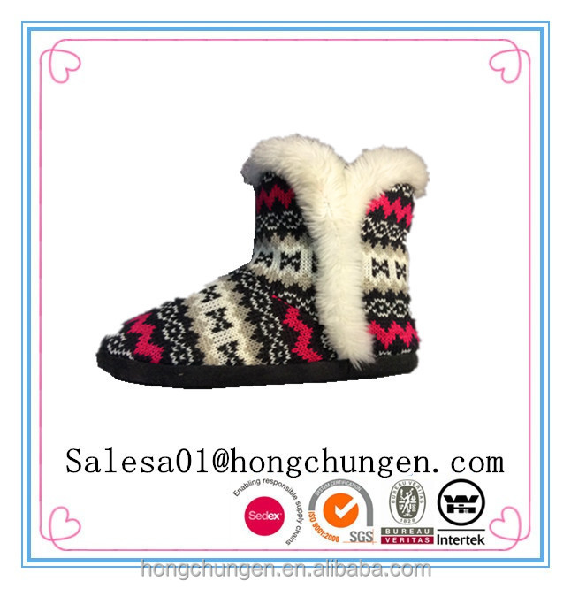 colorful pattern knit material faux fur lining lady boot