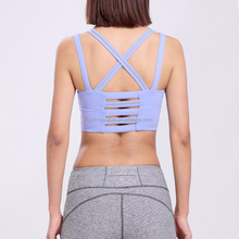 Factory OEM NEW WOMEN Front hole padded Ladies Sports Bra With Big Hole Mesh Running Fitness Bra