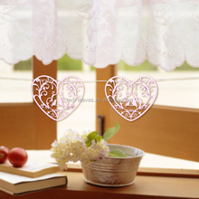 2016 laser cutting new design heart shape design love bird hanging ornaments