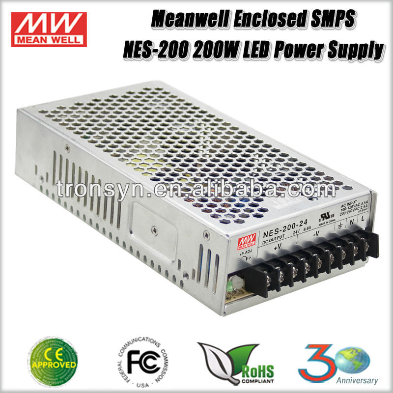Meanwell NES-200-12 (200w 12V 17A) 200W 12V Enclosed SMPS Single Output LED Switching Power Supply