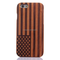 Cherry Wood US American Flag Engrave Wood Wooden Case Cover For Apple iPhone 6