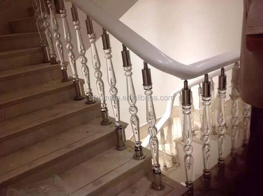 Acrylic Balcony Pillar Design,Acrylic Stair Handrail, Acrylic Interior Stair  Railings
