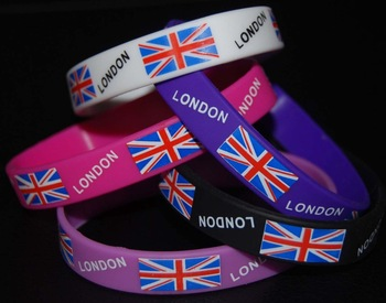 country flag silicone bracelet with custom design