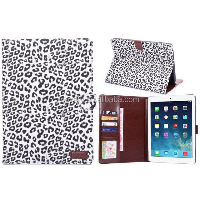 Leopard Skin Cover Leather Case Stand for iPad Air 2